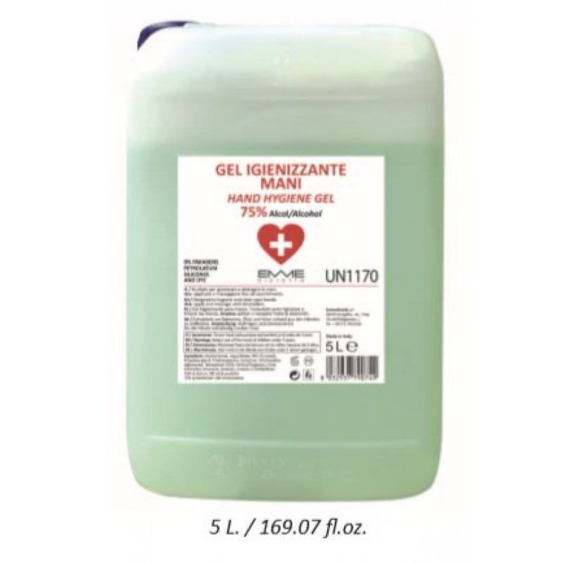 Desinfecterende handgel 75% alcohol 5000ml/ glycerine garandeert een zacht hydraterend effect.