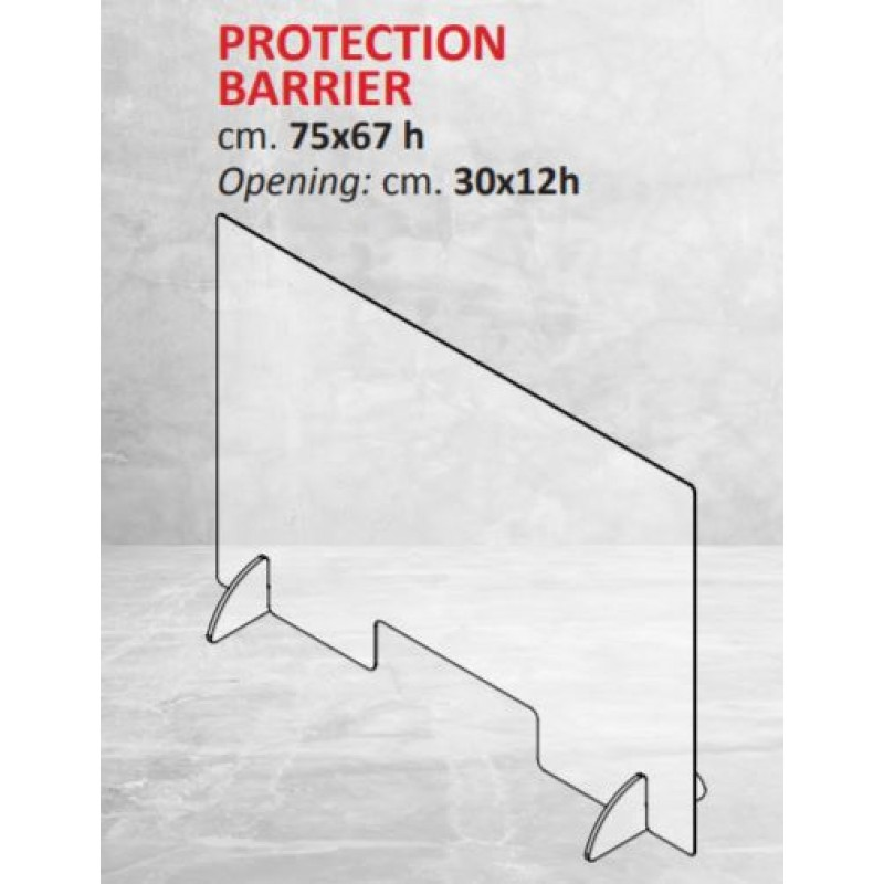 Bescherm plexiescherm 75x 67 met opening van 30x 12